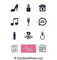 diamond., eljegyzés, esküvő, karika, icons.