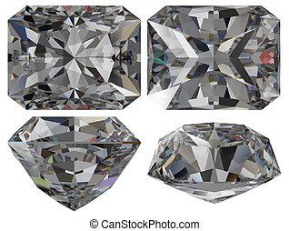 Diamond emerald cut isolated