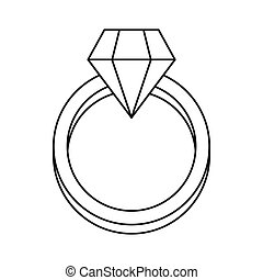 Diamond engagement ring icon, outline style