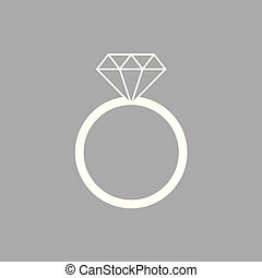 diamond engagement ring icon- vector illustration