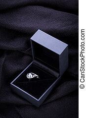 Diamond engagement ring in a box