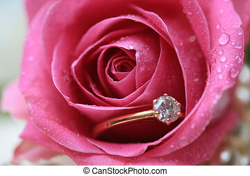 Diamond engagement ring in a wet rose