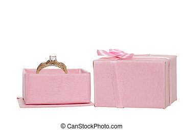 Diamond engagement ring in pink box