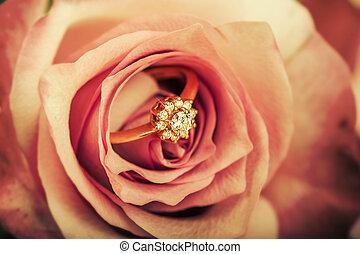 diamond engagement ring in rose flower