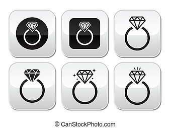 Diamond engagement ring vector