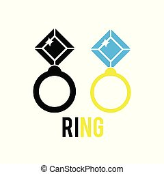 Diamond engagement ring vector icon.
