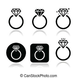 Wedding - engagement ring icons set isolated on white