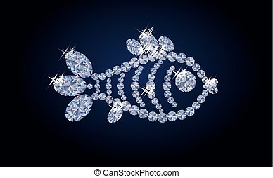 diamond fish banner, vector