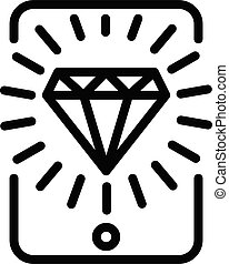 Diamond gaming smartphone icon, outline style