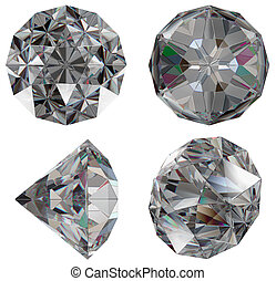 Diamond gem isolated different views with refraction
