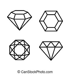 Diamond Gems Icons Set on White Background. Vector