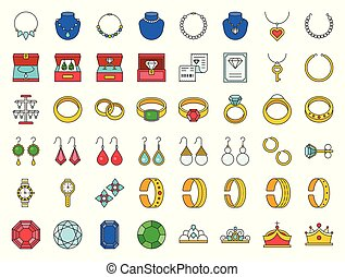 diamond, gemstones and jewelry related, filled outline icon set
