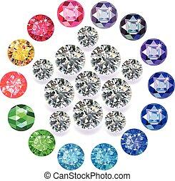 Diamond & gemstones pentagon brooch