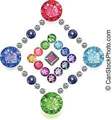 Diamond & gemstones rhomboid set