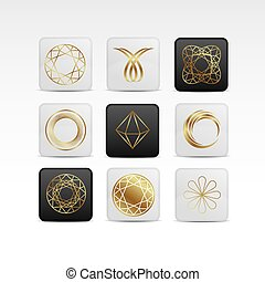 Diamond gold icon set