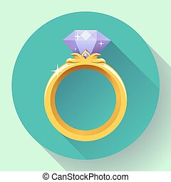 Diamond gold ring icon. Flat 2.0 vector design style with long shadow.