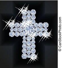 Diamond Happy Easter cross, vector illustration