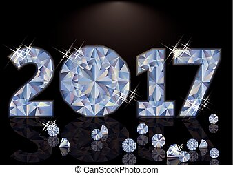 Diamond Happy New 2017 Year, vector illustration