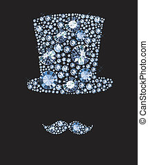 Diamond Hat And Mustaches - Hat And Mustaches made of...