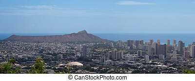 Diamond head Crater and Honolulu