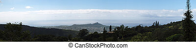 Diamond Head Crater And Honolulu seen from the Mountains