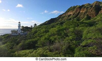 Diamond Head Lighthouse South Shore Oahu Hawaii - Lush green...