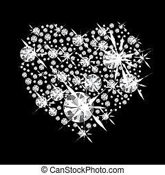 Diamond Heart - Diamond jewelery heart concept with black...