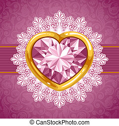 Diamond heart in golden frame - Background with pink diamond...