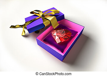 Diamond heart into a gift box.