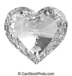 Diamond heart isolated with clippin