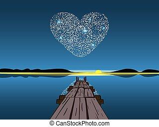 Diamond heart on a night lake