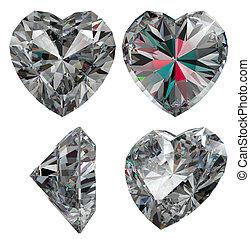 Diamond heart shape isolated