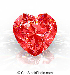 Diamond heart - Red diamond heart isolated on white...