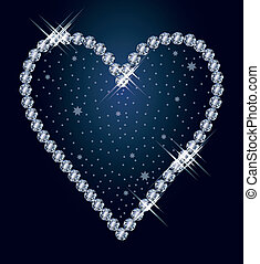 Diamond heart, vector illustration