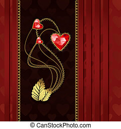 Diamond hearts and gold ornaments