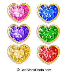Diamond hearts with different colors