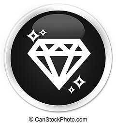 Diamond icon black glossy round button