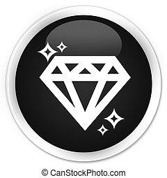 Diamond icon black glossy round button