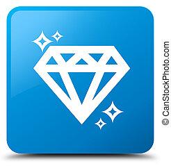 Diamond icon cyan blue square button
