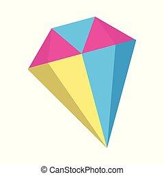 Diamond icon. Fantasy World of the Unicorn. Cartoon style. Vector Illustration