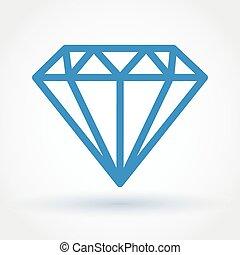 Diamond icon - Flat style abstract blue diamond icon with...