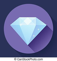 Diamond icon. Flat vector design with long shadow