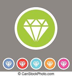 Diamond icon flat web sign symbol logo label