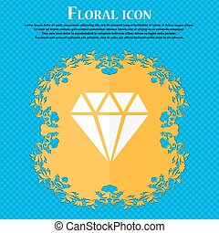diamond icon. Floral flat design on a blue abstract background with place for your text. Vector