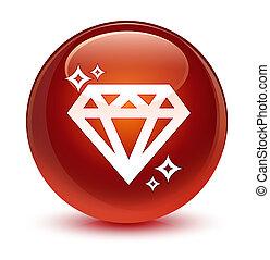 Diamond icon glassy brown round button