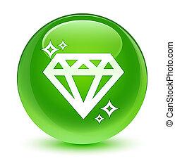 Diamond icon glassy green round button