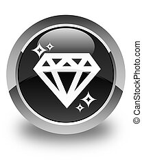 Diamond icon glossy black round button