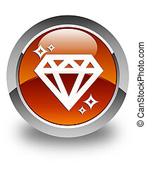 Diamond icon glossy brown round button