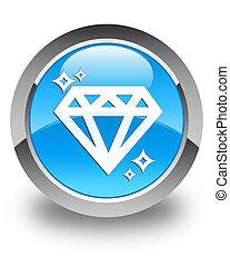 Diamond icon glossy cyan blue round button