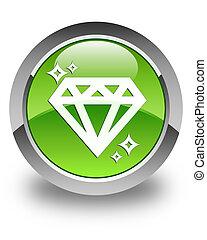Diamond icon glossy green round button